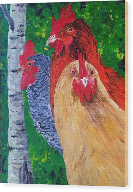 John's Chickens Wood Print