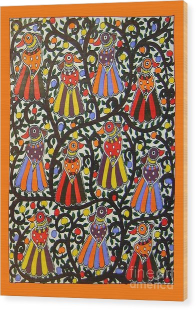 Joint Family Of Birds-madhubani Painting Wood Print