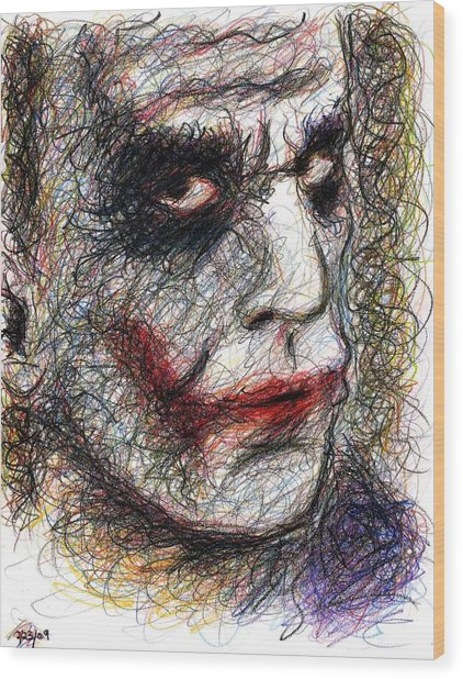 Joker - Pout Wood Print