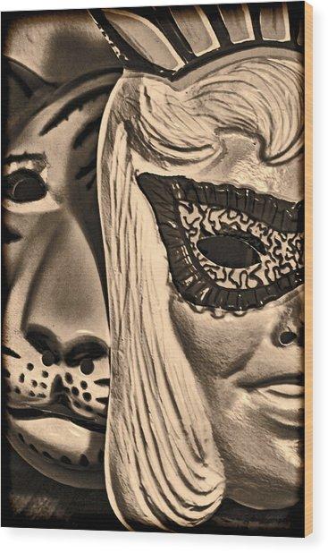 Joking Masks Wood Print