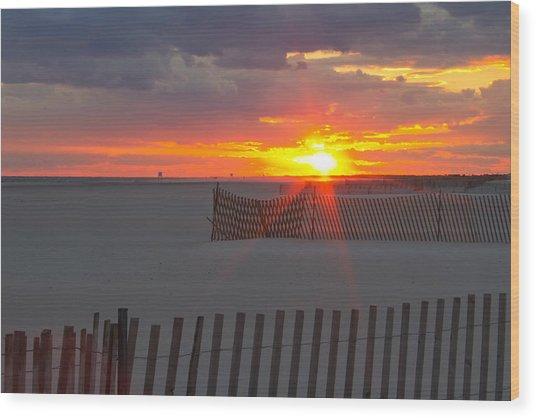 Jones Beach Sunset One Wood Print