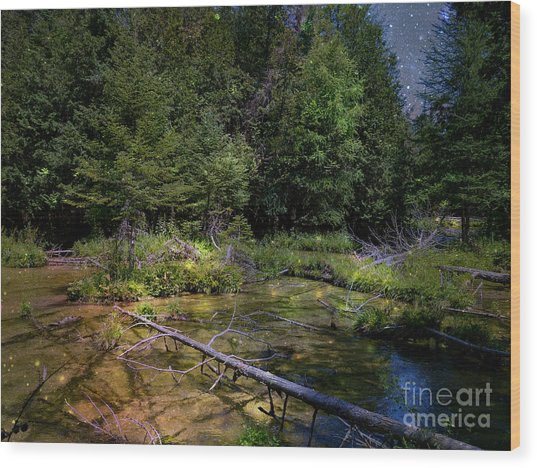 Jordan Headwaters In The Moonlight Wood Print