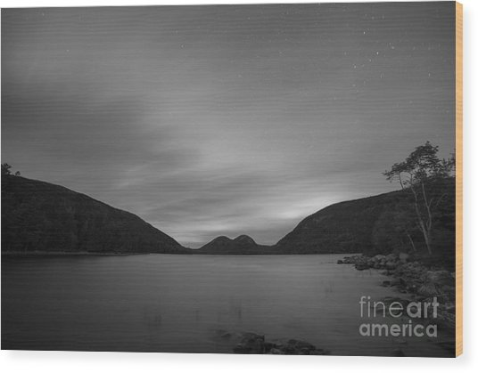 Jordan Pond Blue Hour Bw Wood Print