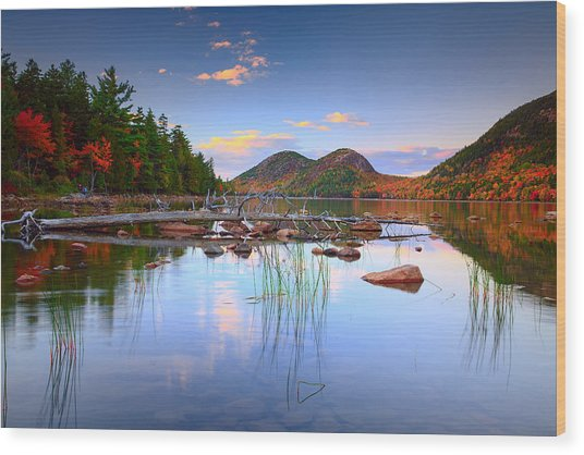 Jordan Pond In Fall Wood Print
