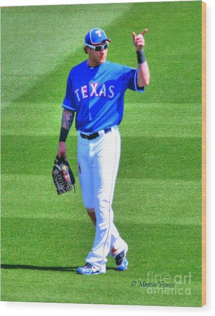 Josh Hamilton 32 Texas Rangers Wood Print