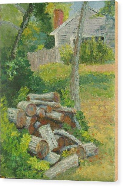 Joshua's Way Woodpile  Wood Print