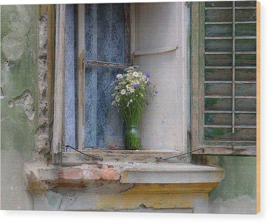 Joy In The Window Wood Print