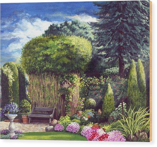 Joy's Garden Wood Print