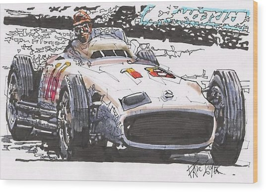 Juan Fangio Mercedes Benz German Grand Prix Wood Print by Paul Guyer