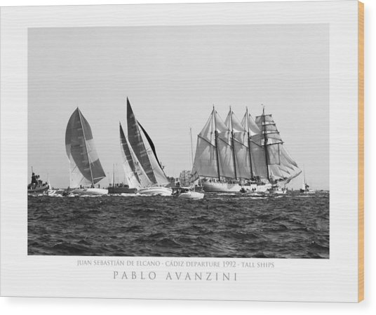 Juan Sebastian Elcano Departing The Port Of Cadiz Wood Print