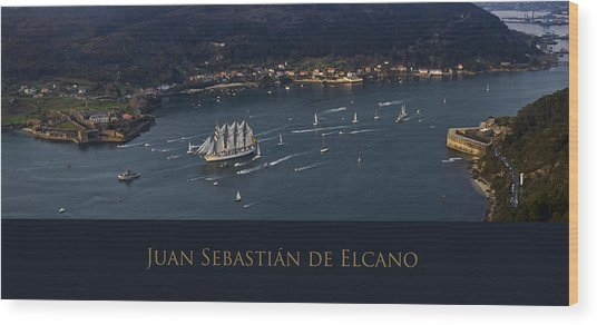 Juan Sebastian Elcano Departing The Port Of Ferrol Wood Print
