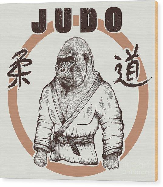 Judoka Gorilla Dressed In Kimono. Hand Wood Print