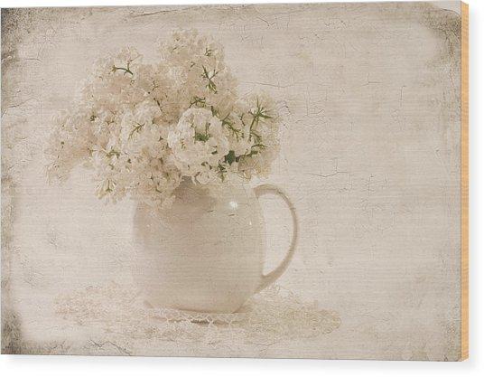 Jug Of White Lilacs Wood Print