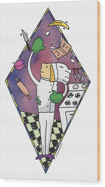 Juggling Chef Wood Print