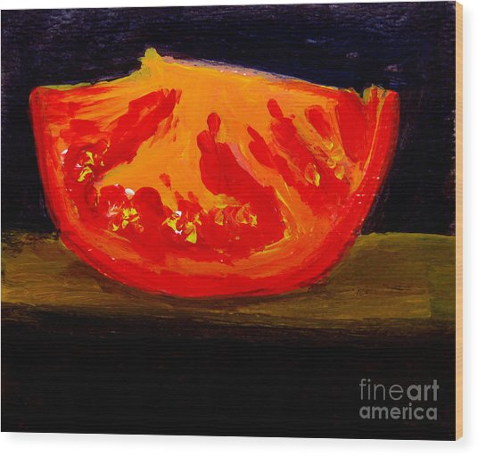 Juicy Tomato Modern Art Wood Print