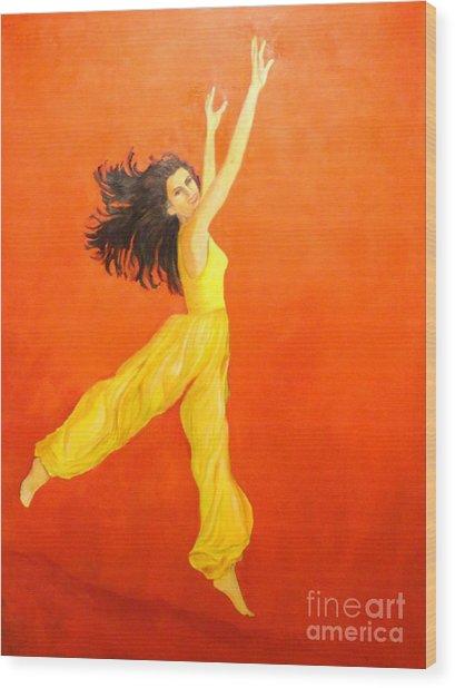 Jump In The Air Wood Print