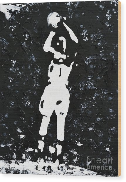 Jump Shot Wood Print