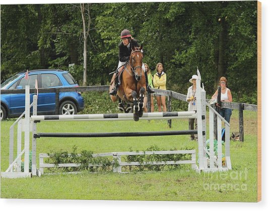 Jumping Eventer Wood Print