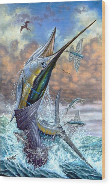 Jumping Sailfish And Flying Fishes Wood Print