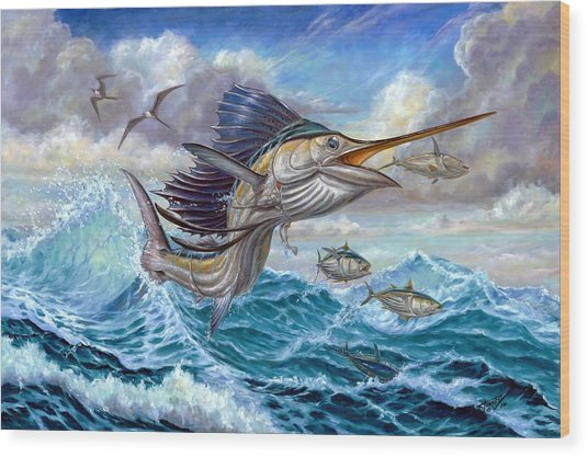 Jumping Sailfish And Small Fish Wood Print