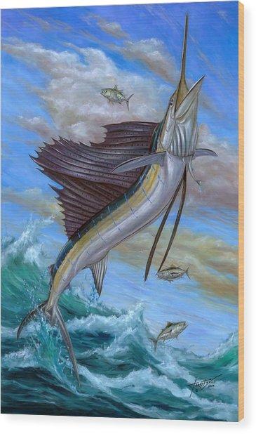 Jumping Sailfish Wood Print