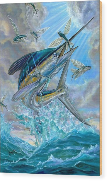 Jumping White Marlin And Flying Fish Wood Print
