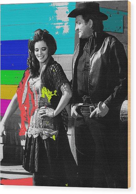 June Carter Cash Johnny Cash In Costume Old Tucson Az 1971-2008 Wood Print