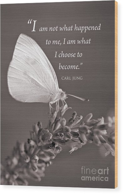 Jung Quotation And Butterfly Wood Print