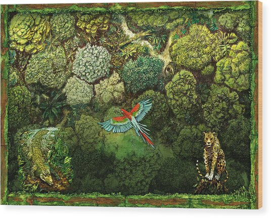 Jungle Animals Framed Wood Print