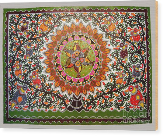 Jungle Life-madhubani Paintings Wood Print