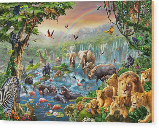 Jungle River Wood Print