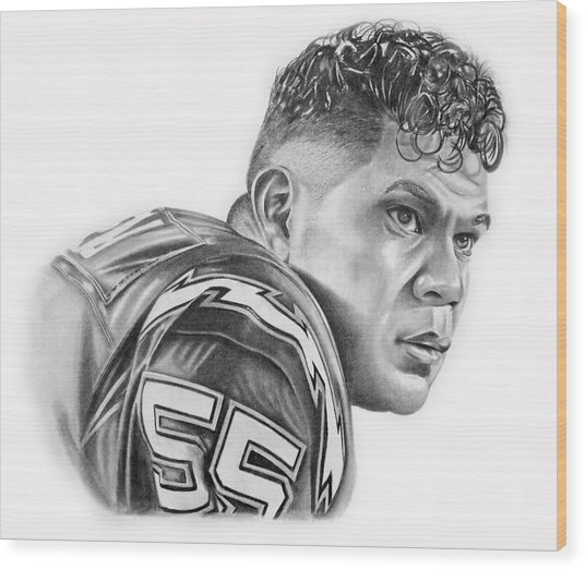 Junior Seau Wood Print