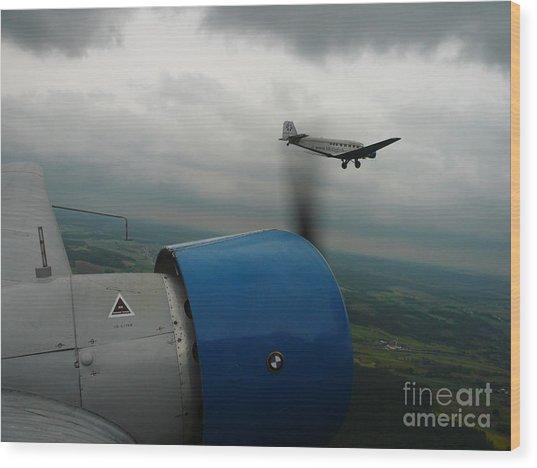 Junkers Ju-52 Flight Under Dark Clouds Wood Print by Joachim Kraus