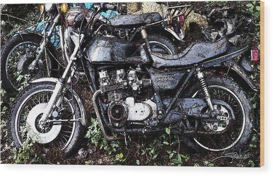 Junkyard Kawasaki Kz650 Wood Print