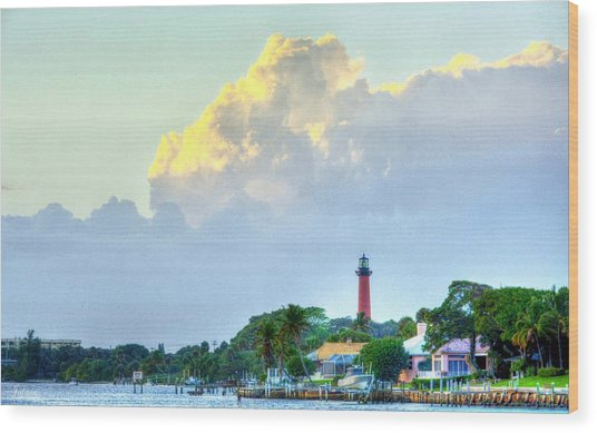 Jupiter Lighthouse Artsy Wood Print