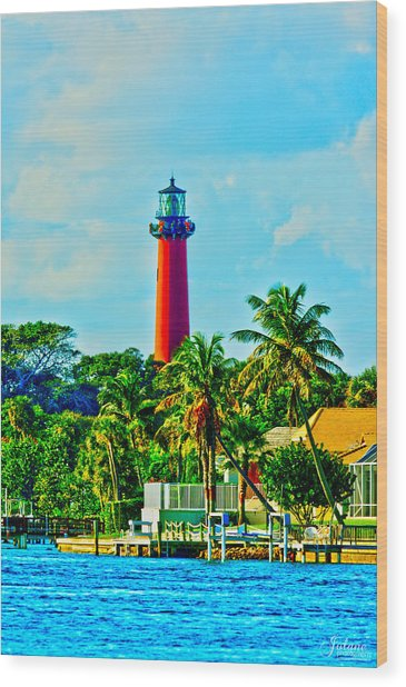 Jupiter Lighthouse Winter Wood Print