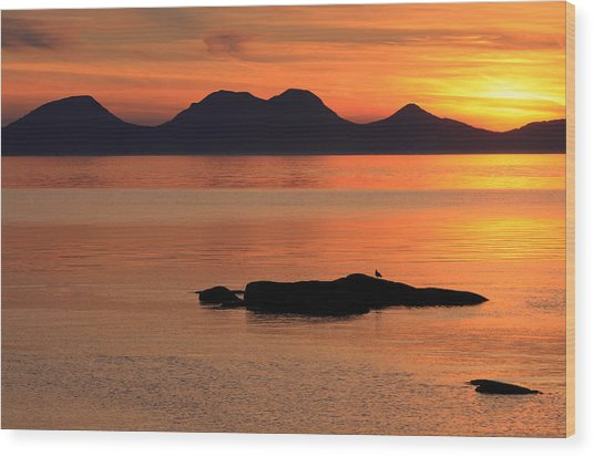 Jura Sunset Wood Print