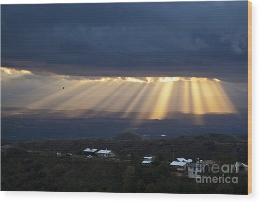 Just After Sunrise With Hot Air Balloon From Jerome Arizona Wood Print