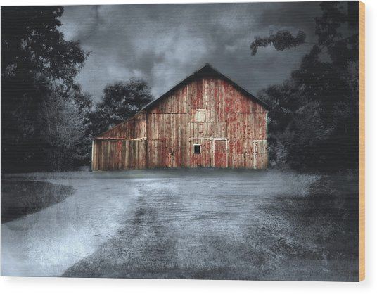 Night Time Barn Wood Print