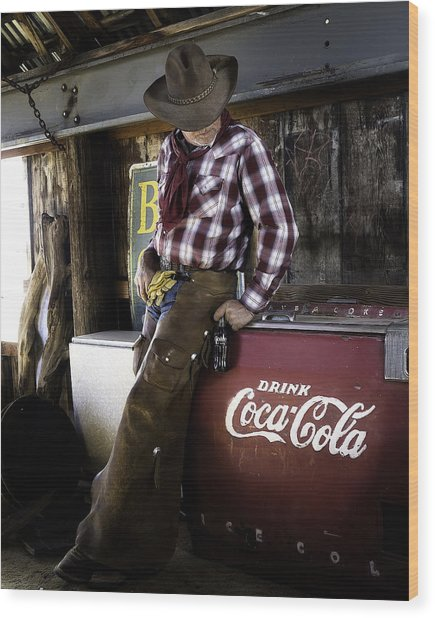 Wood Print featuring the photograph Just Another Coca-cola Cowboy 2 by James Sage