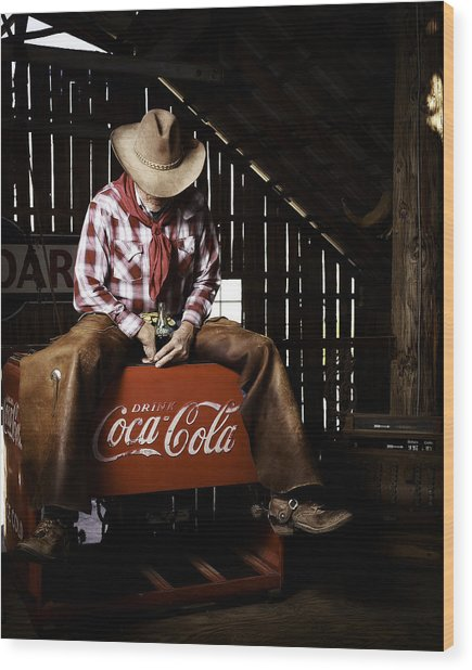 Wood Print featuring the photograph Just Another Coca-cola Cowboy 3 by James Sage