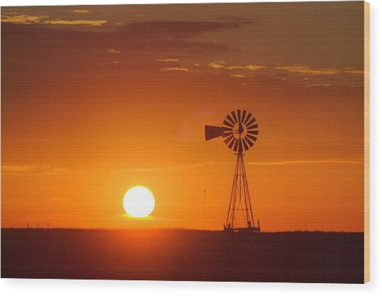 Just Another Nebraska Sunset Wood Print