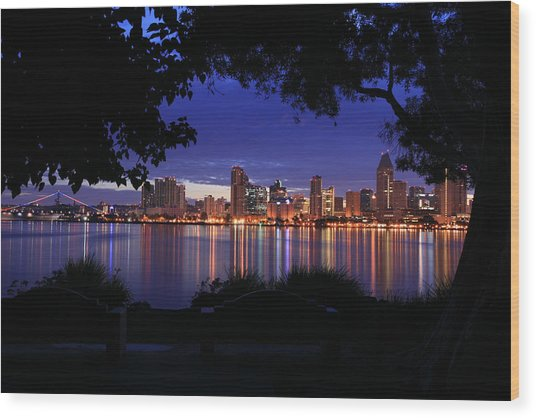 Just Before Sunrise San Diego Wood Print