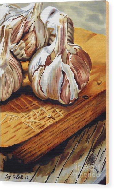 Just Garlic Wood Print