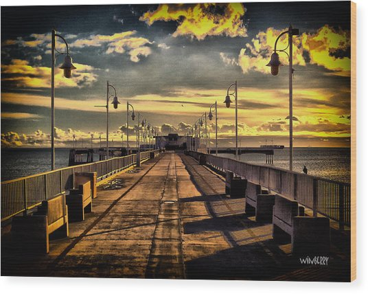 Just The Pier In Long Beach Wood Print