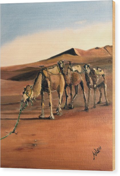 Just Us Camels Wood Print