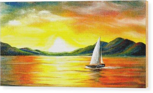 Justa Sailing Wood Print by Janet Moss