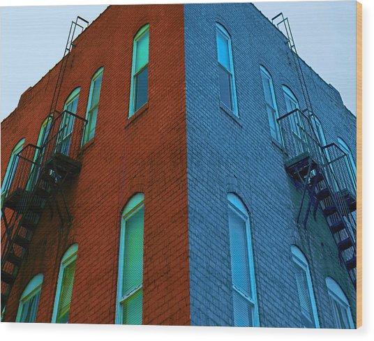 Juxtaposition - Old Building Wood Print