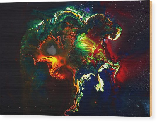 Kaboom - Bright Colorful Abstract Art By Kredart Wood Print