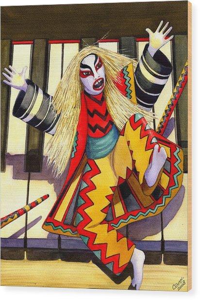 Kabuki Chopsticks 3 Wood Print by Catherine G McElroy